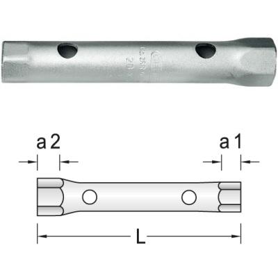 Hohlschaft Gedore Doppelsteckschlüssel 6-kant 13x14 mm